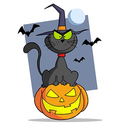 Cartoon Halloween Cat On Pumpkin vector