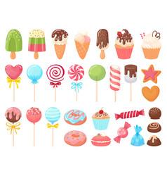 cartoon sweets sweet ice cream cupcakes vector image