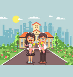 Characters children schoolgirl vector