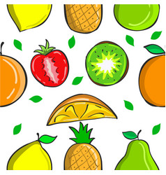 Collection fruit fresh pattern style vector