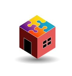 Colorful logo for real estate market with a puzzle vector