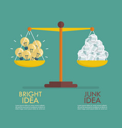 comparison between bright idea and junk idea on vector image