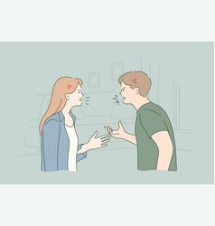 Couple quarrel confict divorce stress concept vector
