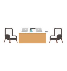 coworking office desk with chair and computer vector image