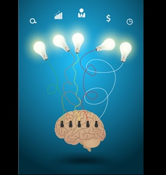 Creative brain with light bulb idea concept vector image