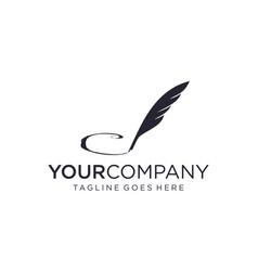 Creative logo writing quill pen vector