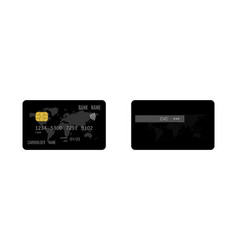 credit card template realistic black credit card vector image