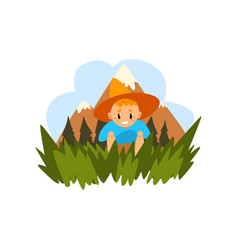 cute boy sitting in the grass kid enjoying summer vector image