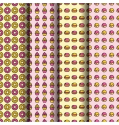 dessert seamless pattern collection vector image