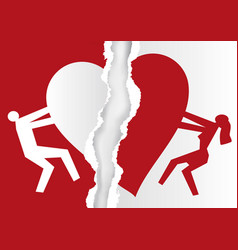 divorced couple white and red ripped paper with vector image