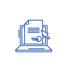 Electronic signature of the contract line icon vector