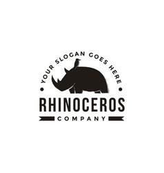 Emblem bird and rhino logo icon vector