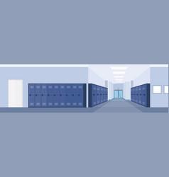empty school lobby corridor interior with row of vector image