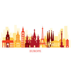 europe skyline landmarks colorful silhouette vector image