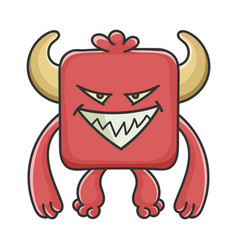 Evil red square devil cartoon monster vector