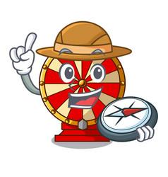 Explorer spinning wheel beside wooden cartoon vector
