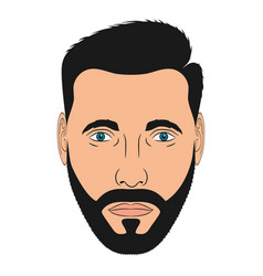 face man with beard male head in cartoon style vector image