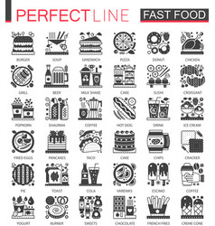 Fast food classic black mini concept symbols vector