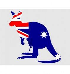 flag of Australia with kangaroo vector image