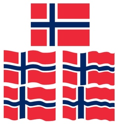 Flat and Waving Flag of Norway vector image