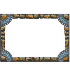 Frame made of grey stones with ancient ornament vector