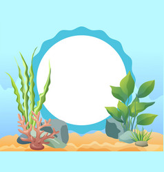 Funny cartoon oval photo frame with sea weed card vector