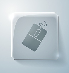 Glass square icon with highlights computer mouse vector image