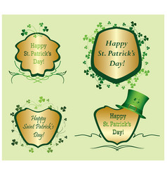 Green frames with clovers for st patrick day vector