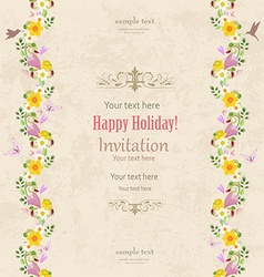 greeting card with vertical seamless borders of vector image