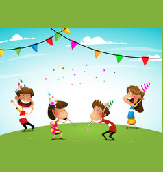 Group of adorable kids having fun at birthday vector
