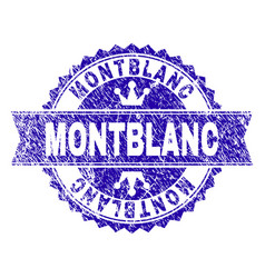 grunge textured montblanc stamp seal with ribbon vector image