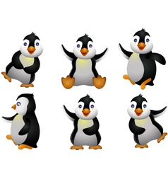 Happy young penguin character vector
