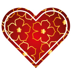 heart love flower sakura traditional pattern vector image