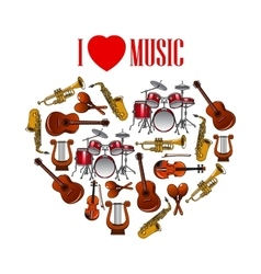 Heart with musical instruments for arts design vector image