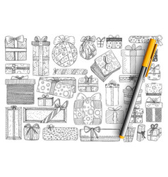 holiday present in boxes doodle set vector image