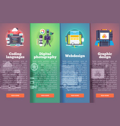 information technology banners set digital vector image