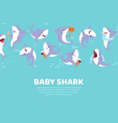 Inscription baby shark cute banner nature ocean vector