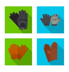 isolated object glove and winter symbol set of vector image