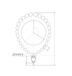 Jewerly production sketch of brilliant necklace vector