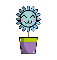 Kawaii beauty and happy flower plant vector