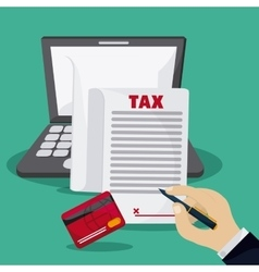 Laptop and document icon Tax and Financial item vector image vector image
