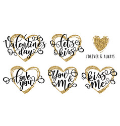 Lettering motivation set for valentines day vector