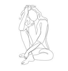Line art woman sitting vector