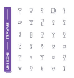 line icons set stemware pack 2 vector image
