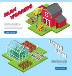 Little farm work facilities isometric banners vector