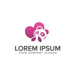 love panda logo design concept template vector image