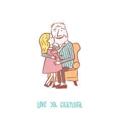 Love ya grandpa color vector