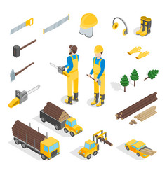 Lumberman woodcutter signs 3d icons set isometric vector