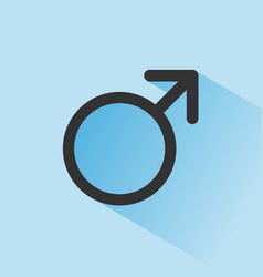 male symbol with shade on a blue background vector image