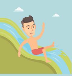 Man riding down waterslide vector